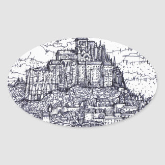 mont saint-michel oval sticker