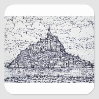 mont saint-michel square sticker