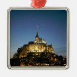 Mont St Michel Silver-Colored Square Ornament