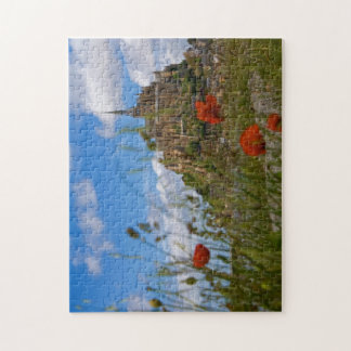 Mont St Michele through the poppies Puzzle