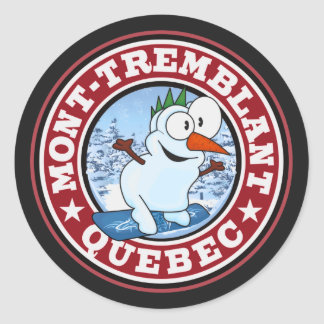 Mont-Tremblant Snowman Circle Classic Round Sticker