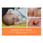 Montage 3 photo orange baby birth announcement