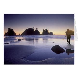 Montage of man carrying kayak, ShiShi Beach, Card