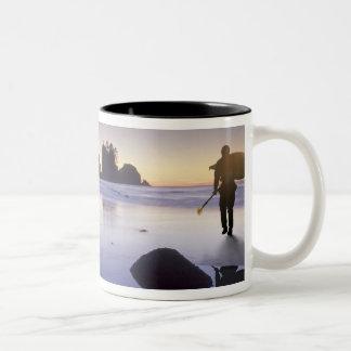 Montage of man carrying kayak, ShiShi Beach, Coffee Mugs