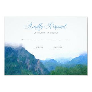 Montagne d'aquarelle épousant la réponse de RSVP Carton D'invitation 8,89 Cm X 12,70 Cm