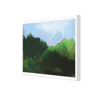 montagnes vertes imaginaires toile tendue sur châssis