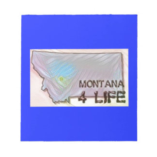 """""""Montana 4 Life"""" State Map Pride Design Notepad"""