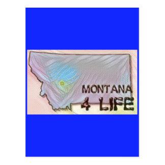 """Montana 4 Life"" State Map Pride Design Postcard"