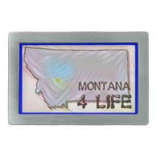 """Montana 4 Life"" State Map Pride Design Rectangular Belt Buckles"