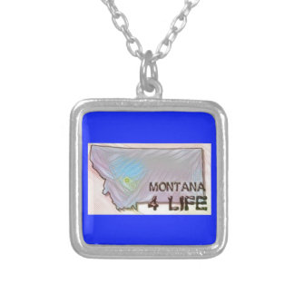 """Montana 4 Life"" State Map Pride Design Silver Plated Necklace"