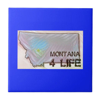 """Montana 4 Life"" State Map Pride Design Tile"