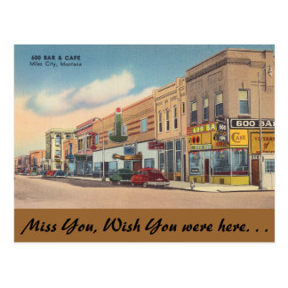 Montana, 600 Bar & Cafe, Miles City Postcard