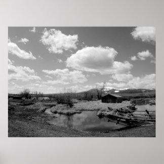 Montana Farm in Black & White Poster