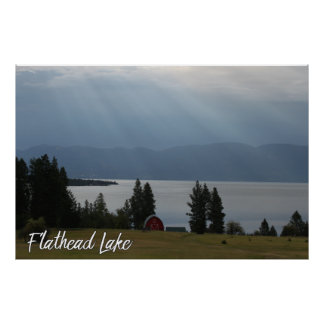 Montana Flathead Lake Shore Red Barn Trees Poster