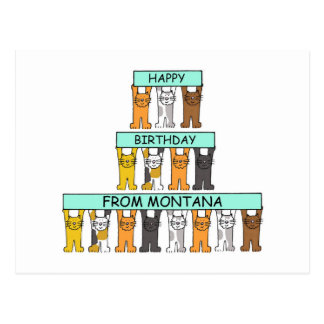 Montana Happy Birthday Cats Postcard