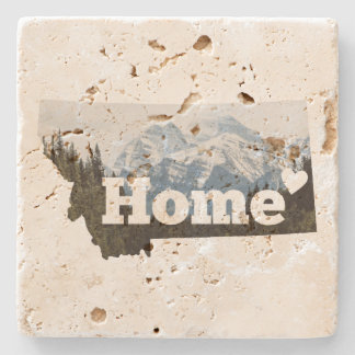 Montana is Home State Outline Mountains Coaster