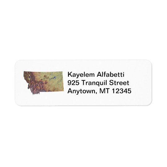 Montana Map Return Address Label
