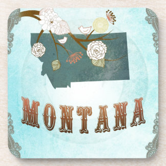 Montana Map With Lovely Birds Beverage Coaster
