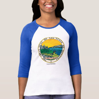 Montana State flag for Women's-T-Shirt-White-Blue Tee Shirt