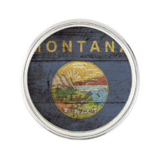 Montana State Flag on Old Wood Grain Lapel Pin