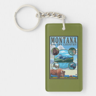Montana State Scenes Double-Sided Rectangular Acrylic Keychain