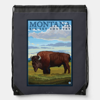 MontanaBison Vintage Travel Poster Backpacks