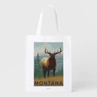 MontanaElk Scene Grocery Bags
