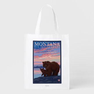 MontanaMomma Bear and Cub Vintage Travel Market Tote