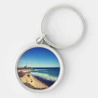 montauk keyhain Silver-Colored round keychain