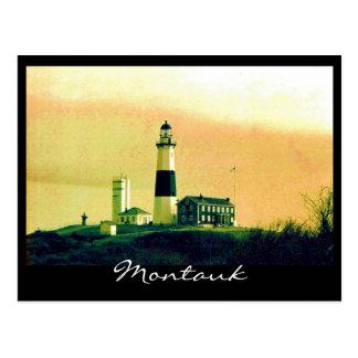 montauk light house postcard