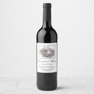 Montauk Point Lighthouse Hamptons Long Island NY Wine Label
