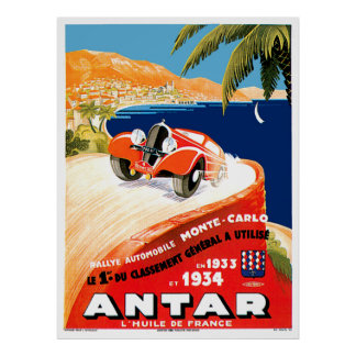 Monte Carlo Automobile Rally Poster