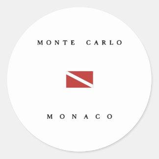 Monte Carlo Monaco Scuba Dive Flag Round Sticker