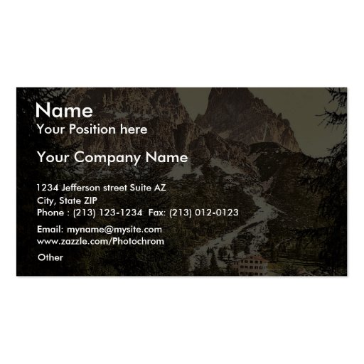 Monte Cristallo with Tre Croci, Tyrol, Austro-Hung Business Card Templates