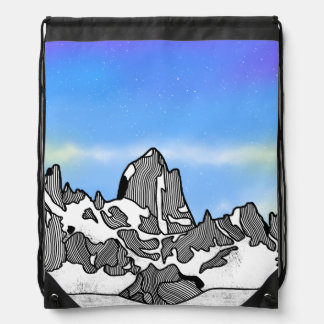 Monte Fitz Roy Mountain Landscape Drawstring Bag