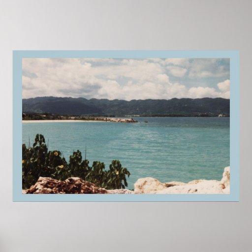 MONTEGO BAY, JAMAICA BLUE CANVAS POSTER PRINT