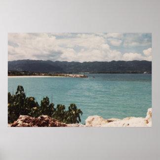 MONTEGO BAY, JAMAICA BLUE CANVAS PRINT 36x24