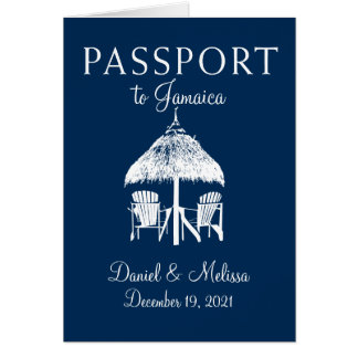 Montego Bay Jamaica Passport Wedding Card