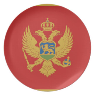 montenegro country flag plate