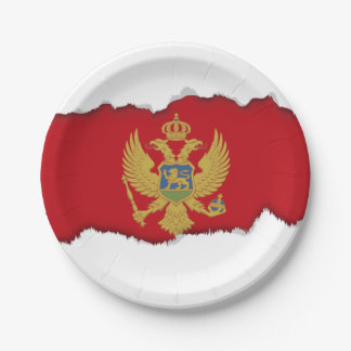 Montenegro flag 7 inch paper plate