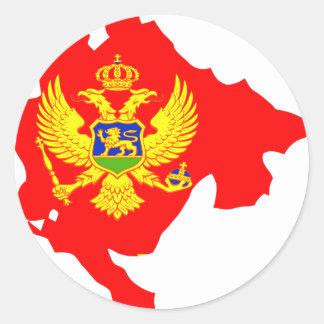 Montenegro flag map classic round sticker