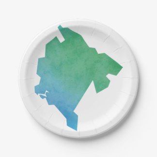 Montenegro Map 7 Inch Paper Plate