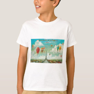 Monter en ballon au-dessus de Paris T-shirt