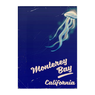 Monterey Bay California Jelly vintage travel Acrylic Wall Art