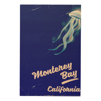 Monterey Bay California Jelly vintage travel Wood Wall Decor