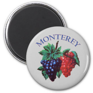 Monterey California Grapes 2 Inch Round Magnet