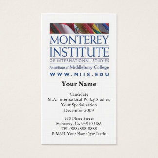 Monterey Institute of International Studies Card