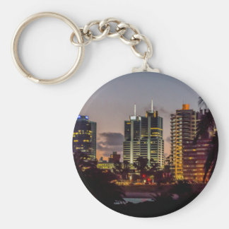 Montevideo Cityscape Scene at Twilight Basic Round Button Keychain