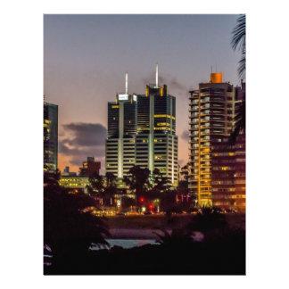 Montevideo Cityscape Scene at Twilight Custom Letterhead
