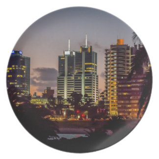 Montevideo Cityscape Scene at Twilight Dinner Plate